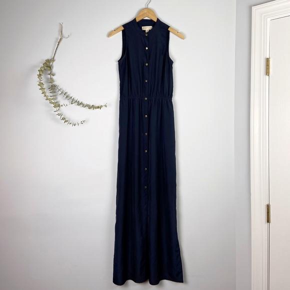 Michael Kors Navy Blue Side Slit SnapUp Maxi Dress